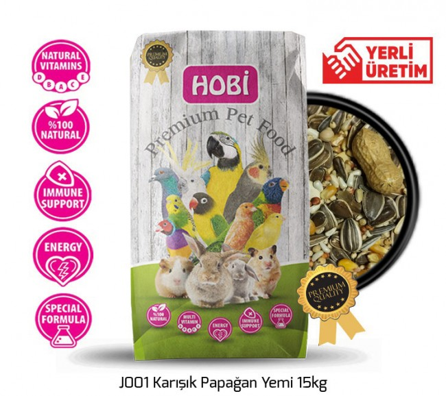 Hobi - Hobi J001 Karışık Papağan Yemi 15kg
