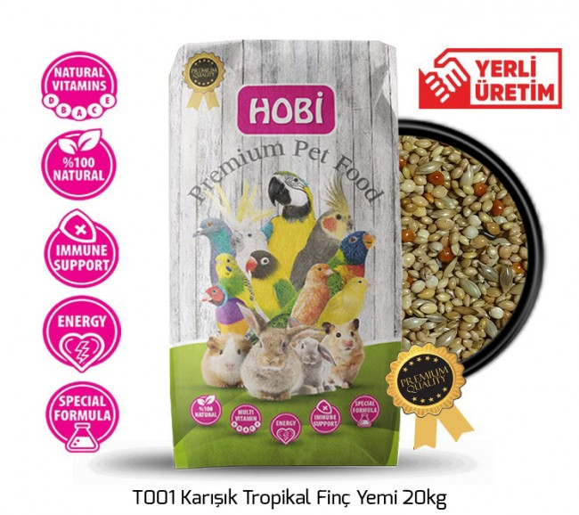 Hobi - Hobi T001 Karışık Tropikal Finç Yemi 20kg
